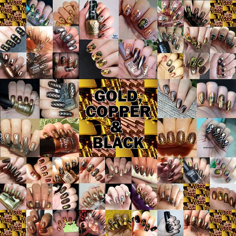 #WhenColoursCollide - gold/copper/black collage