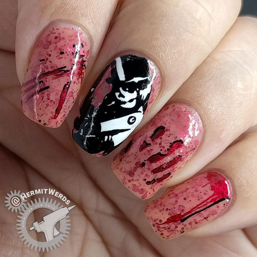 """Witch of Slaughter - Hermit Werds - nail art of a lack and white skull-faced witch with bloody stamping on China Glaze's morbid """"Don't Let the Dead Bite"""""""