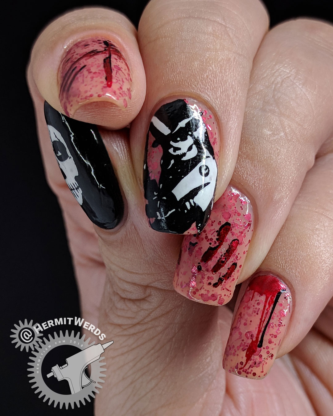 "Witch of Slaughter - Hermit Werds - nail art of a lack and white skull-faced witch with bloody stamping on China Glaze's morbid ""Don't Let the Dead Bite"""