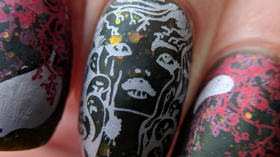 Witch of Spirits - Hermit Werds - an olive green jelly with opalescent glitter and ghosts and roses stamped on top