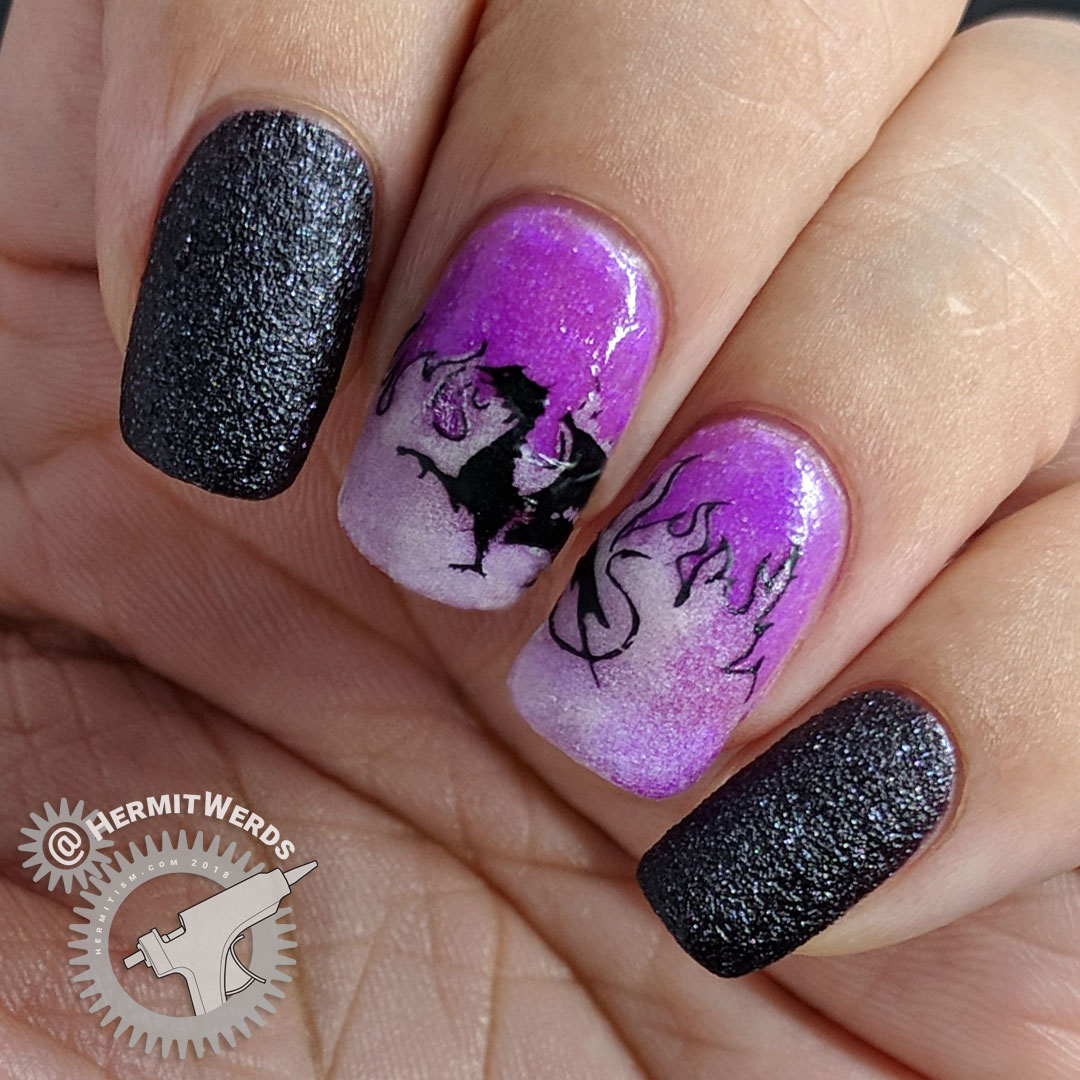 Wrath of the Dragon - Hermit Werds - purple nail art with the Maleficent dragon from Sleeping Beauty surrounded by blue glow in the dark flames.
