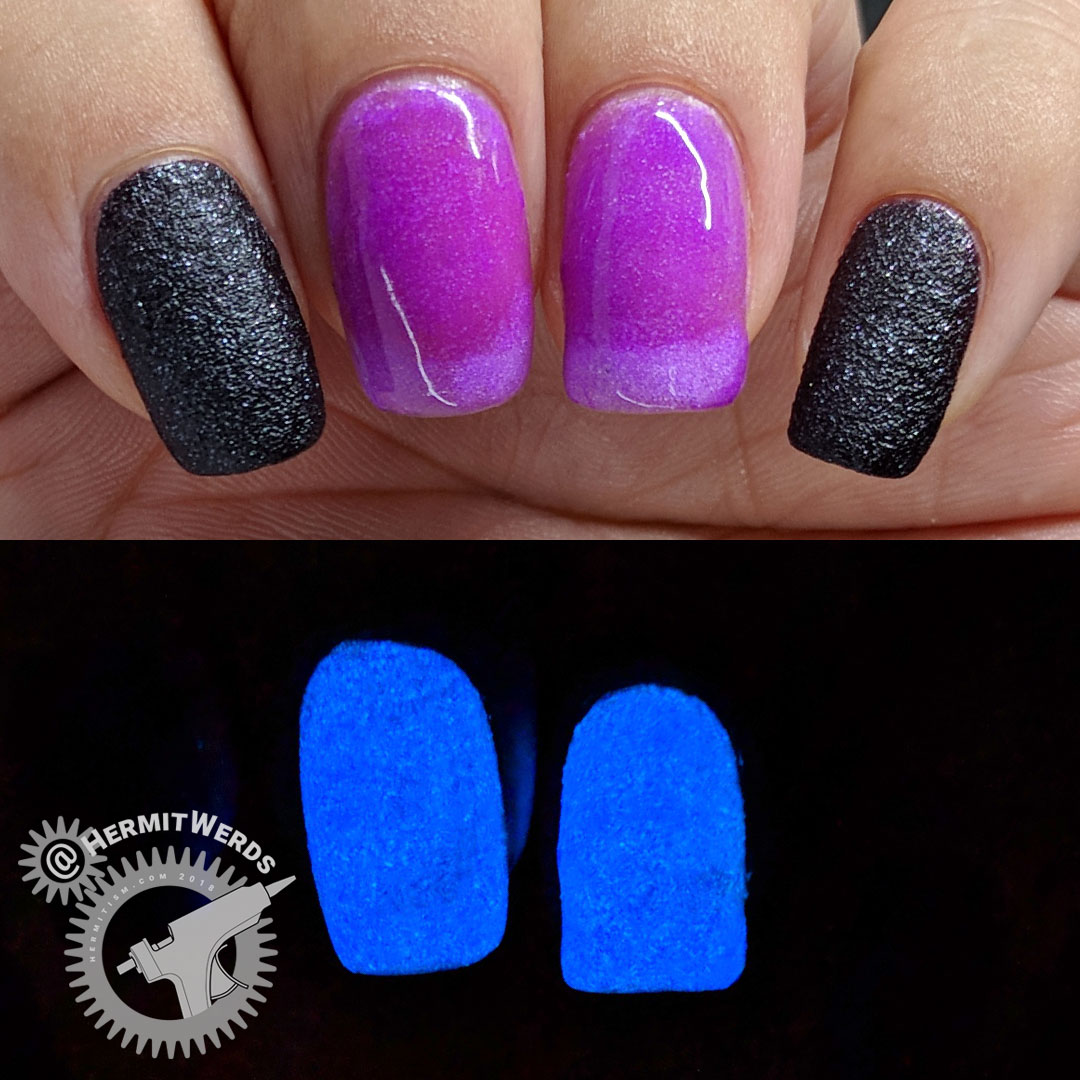 Beauty BigBang J2103-12A swatch - Hermit Werds - purple nails by day, blue glow in the dark nails at night
