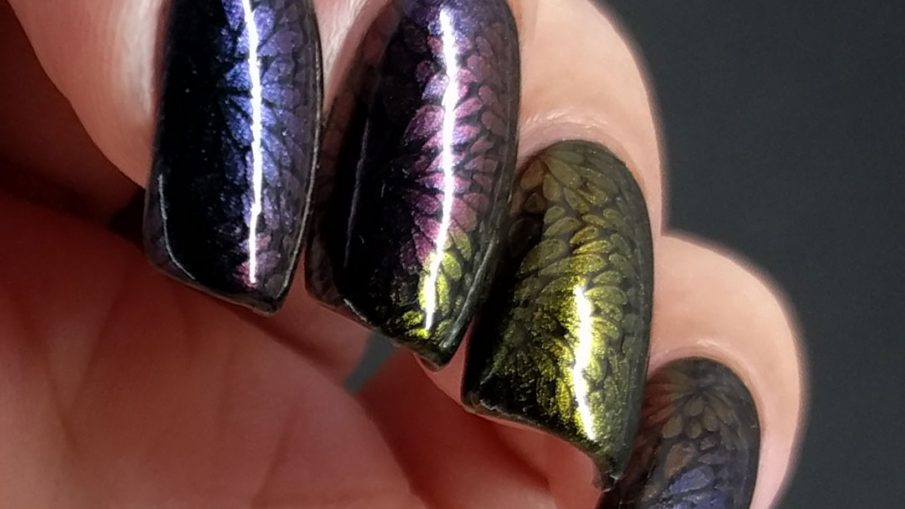 Duochrome Floral - Hermit Werds - five different duochromes stamped in a floral pattern on black