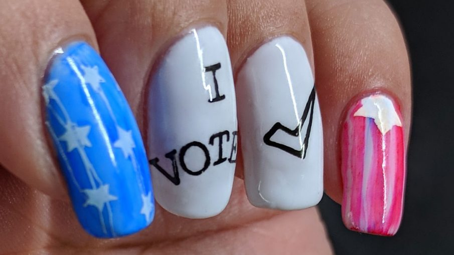 I Voted 2018 - Hermit Werds - patriotic United States of America voting nails with flag US reference painted with sharpie marker ink