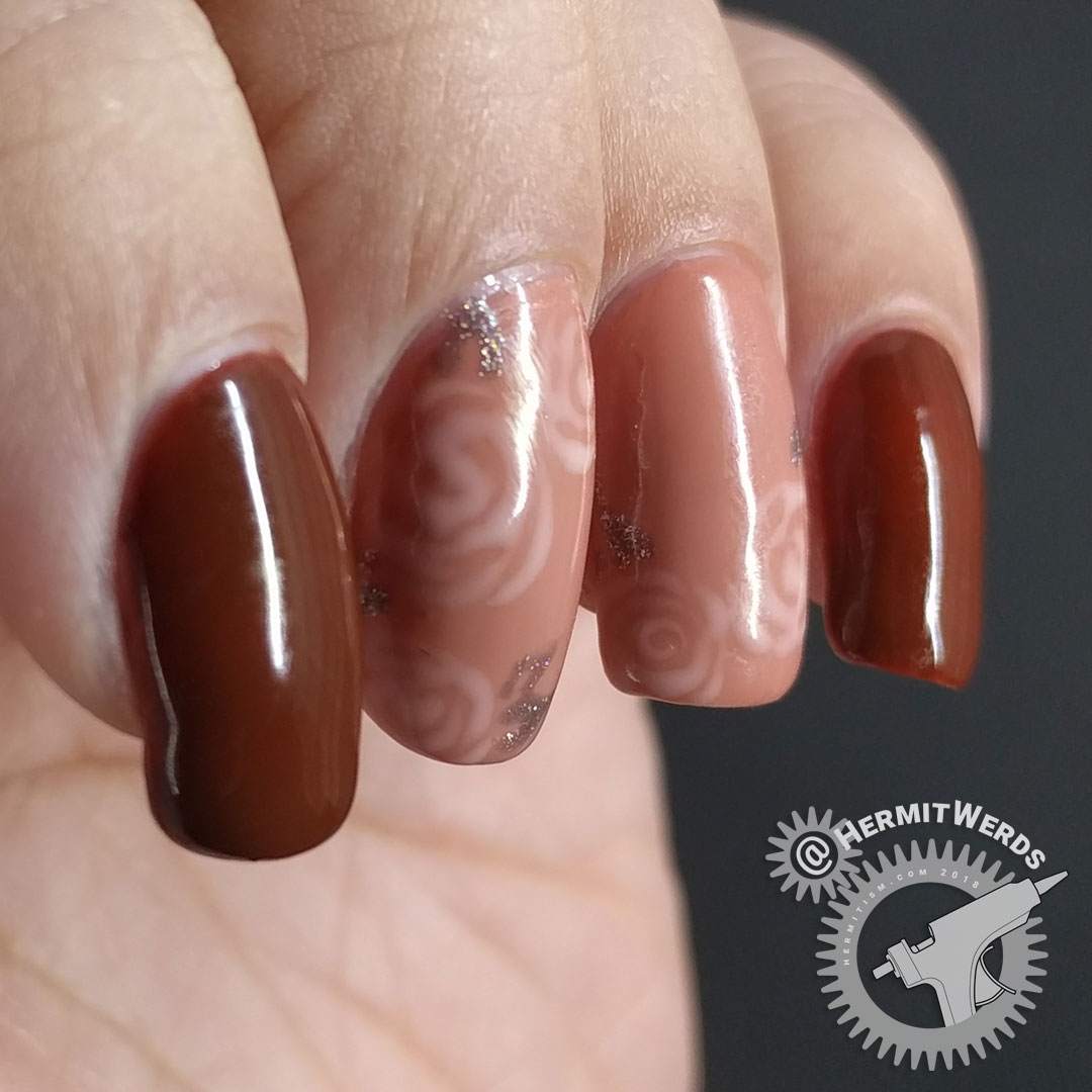 Neutral Roses - Hermit Werds - neutral colored gel nails with freehand roses using Laguna Moon's Classic set