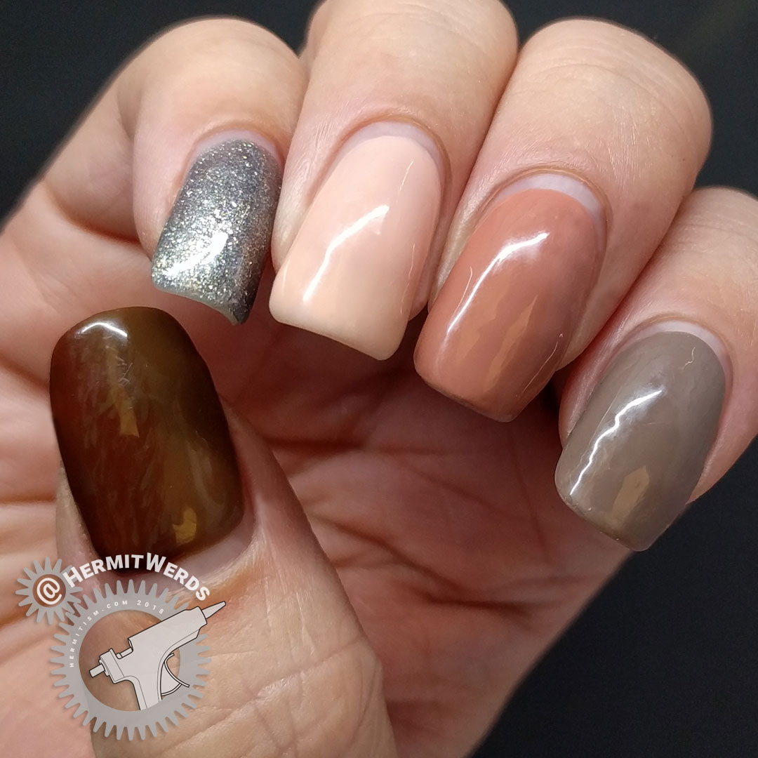 Laguna Moon - Classic - at two weeks - Hermit Werds -  end of wear test of neutral set of gel polishes