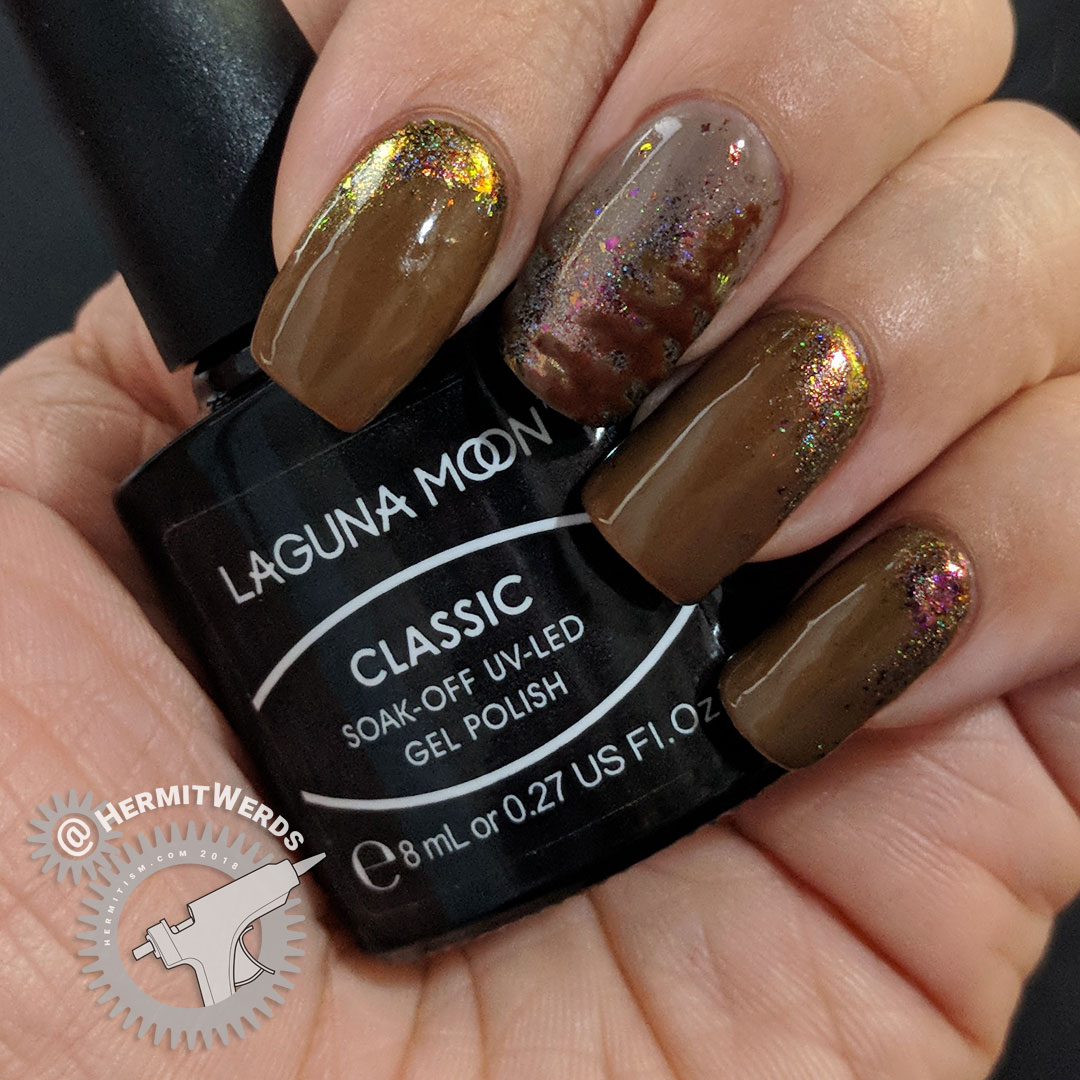 Neutral Pines - Hermit Werds - neutral colored gel nails with freehand pines using Laguna Moon's Classic set and a little  and holographic pink and green flakie powder
