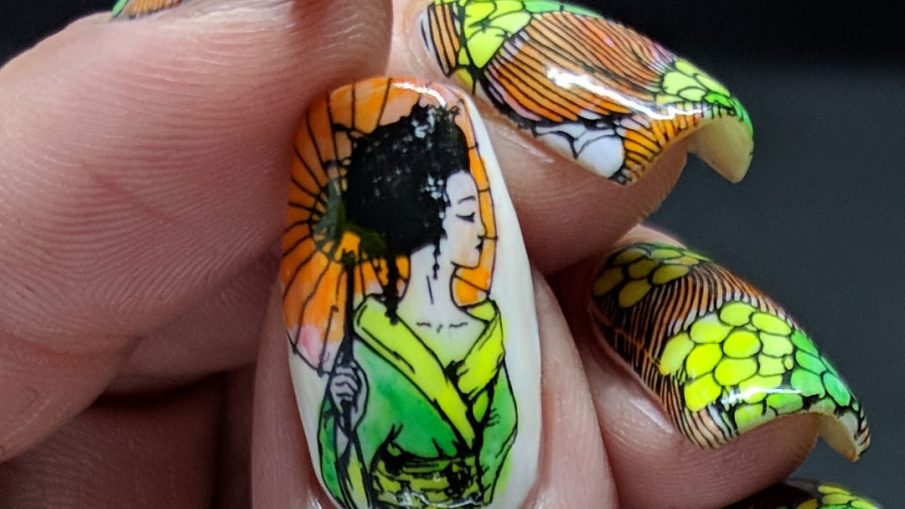 Sharon's Birthday Recreation - orange and green nail art of an oriental print representing abstract grapes and filled in with sharpie marker ink