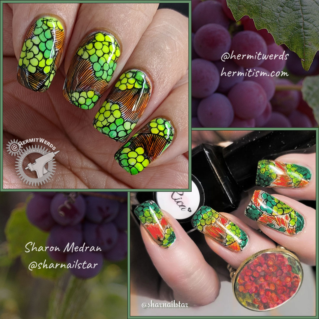 Sharon's Birthday Recreation - comparison - Hermit Werds - orange and green nail art of an oriental print representing abstract grapes and filled in with sharpie marker ink