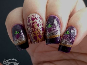 We Beet Again - Hermit Werds - purple holographic french tip nail with a punny beet theme and golden gradients