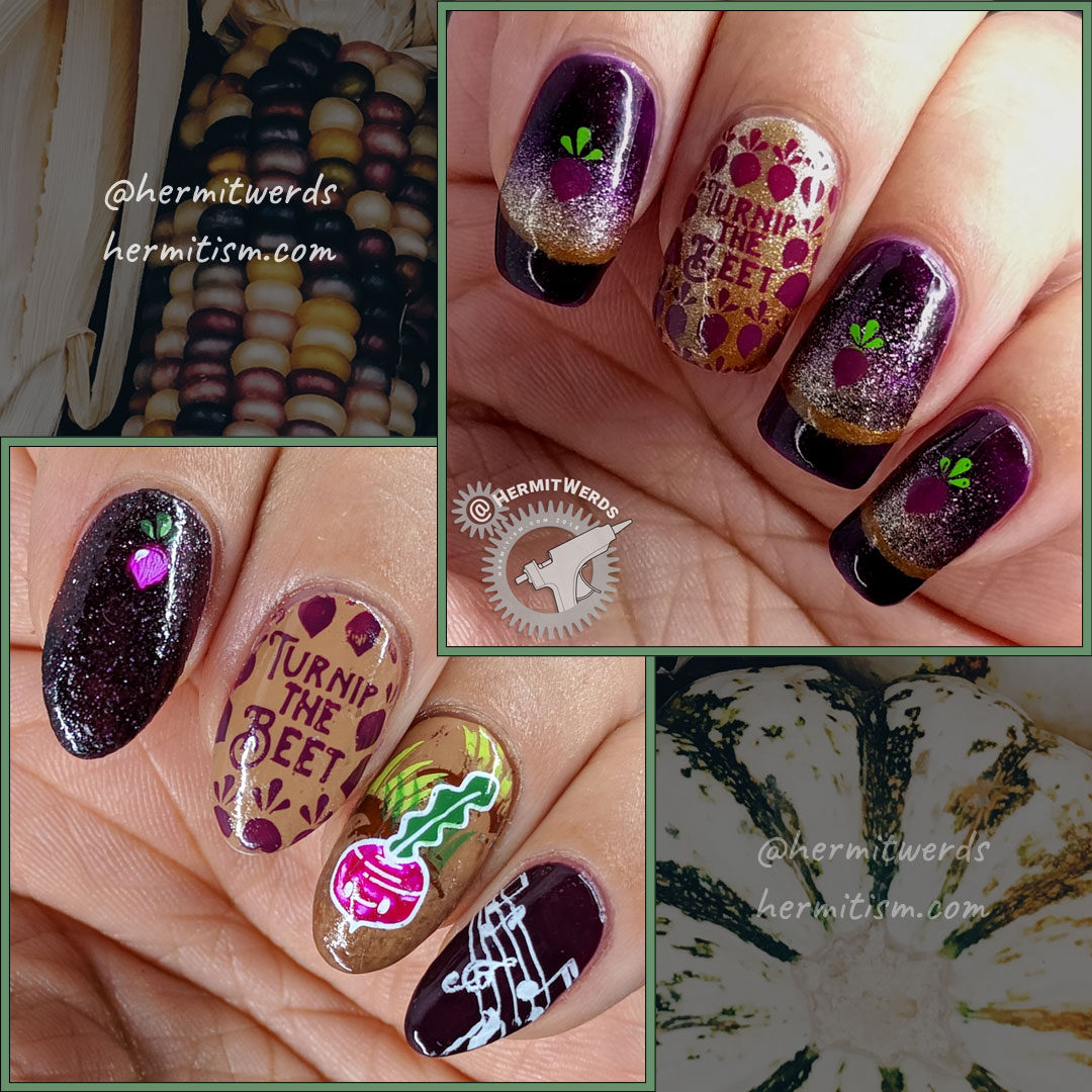 We Beet Again - comparison -Hermit Werds - two purple-y beet nail arts, one a recreation of a #nailfail