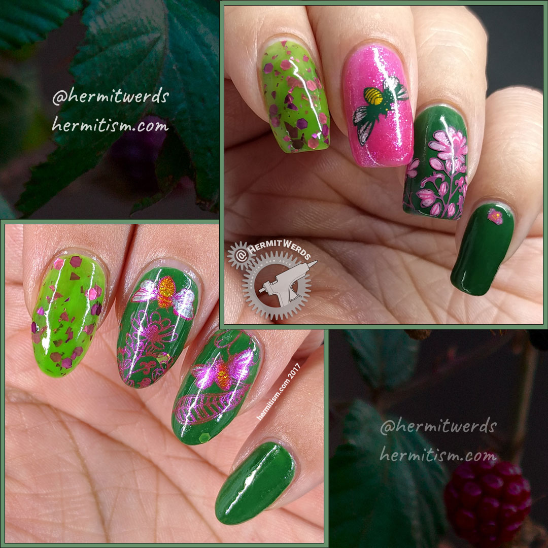 Busy Bees 2.0 - comparison - Hermit Werds - ecreation comparison of a pink and green nail art featuring bee and pink cone flower stamping decals