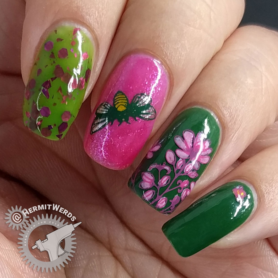 Busy Bees 2.0 - Hermit Werds - pink and green nail art featuring bee and pink cone flower stamping decals