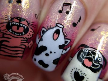Christmas Carolers - Hermit Werds - nail art of a pig, a pug (dog), two cats, and a sheep singing Christmas carols against a shimmery background in purple to orange to raspberry tones