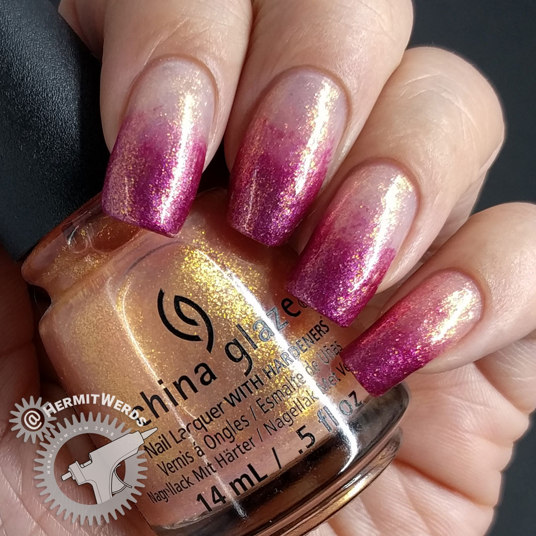 Baby Boomer French Tips - Hermit Werds - shimmery orange and raspberry baby boomer french tip using China Glaze polishes