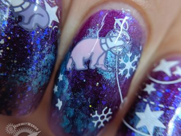 Galactic Snowstorm - Hermit Werds - purple, magenta, and blue galaxy nail art with snow flakes, sparkly glitter, and astronaut rabbit, polar bear, and penguin stamping decals
