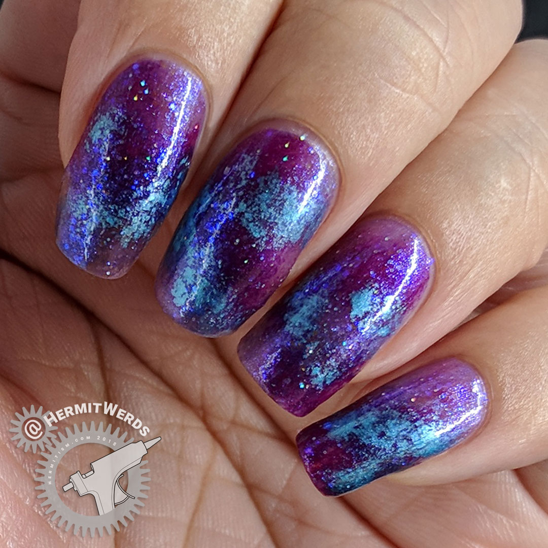 Galactic Snowstorm - Hermit Werds - purple, magenta, and blue galaxy nail art before all the stamping