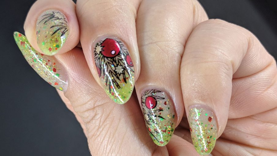 Holiday Glitz - Hermit Werds - nail art with a red and green glittery thermal Christmas polish with a ritzy holiday sprig on top