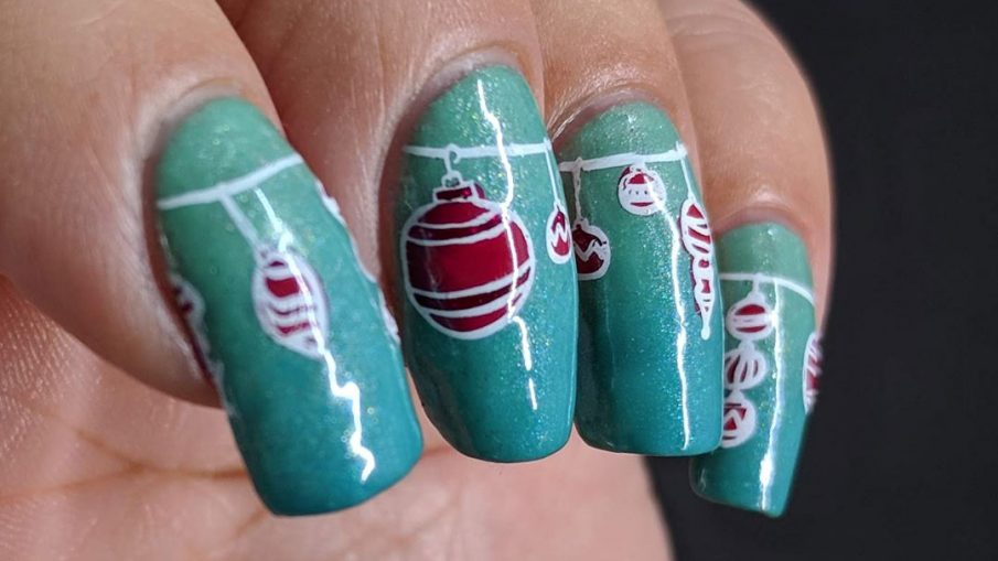 Peppermint Baubles - Hermit Werds - shimmery mint gradient behind nail stamping decals of peppermint-colored Christmas ornaments