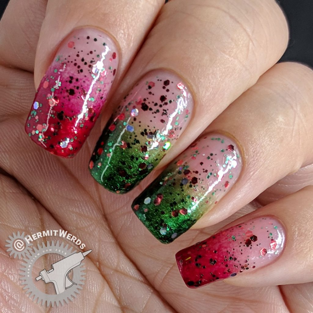 Christmas-y Baby Boomer French Tips - Hermit Werds - glittery red and green baby boomer french tip nails