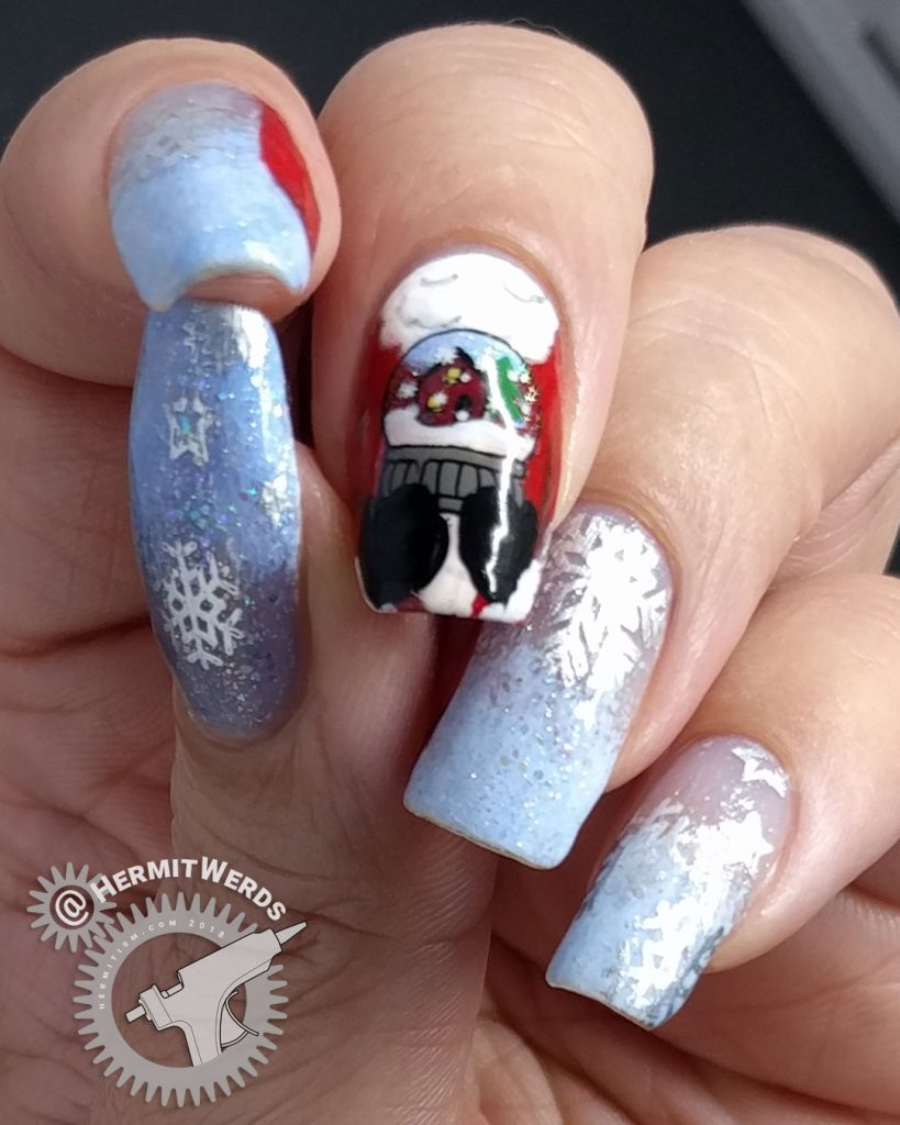 Santa's Coming to Town - Hermit Werds - Santa cradling a snow globe with a snowy home scene in mitten-ed hands
