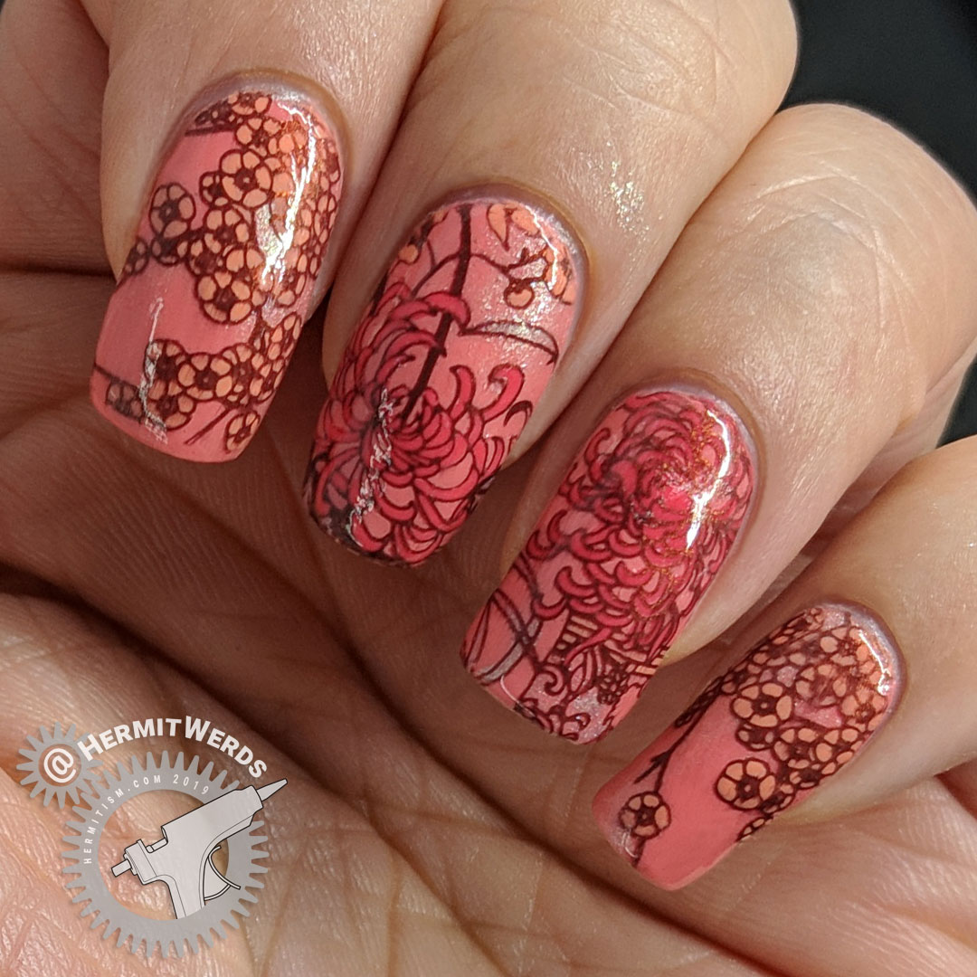 Coral Chrysanthemum - Hermit Werds - coral monochrome nail art with an oriental pattern using Japanese chrysanthemum and cherry blossom stamping decals