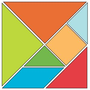 Tangram Pattern - Hermit Werds - diagram on how to cut your own Chinese puzzle tangram