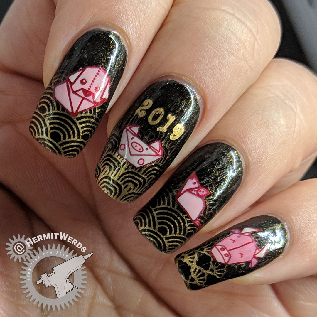 Origami Zodiac - Hermit Werds - black and bronze nail art with stamped baby boomer french tips and origami zodiac animals for the year of the rooster, dog, pig, rat, and ox