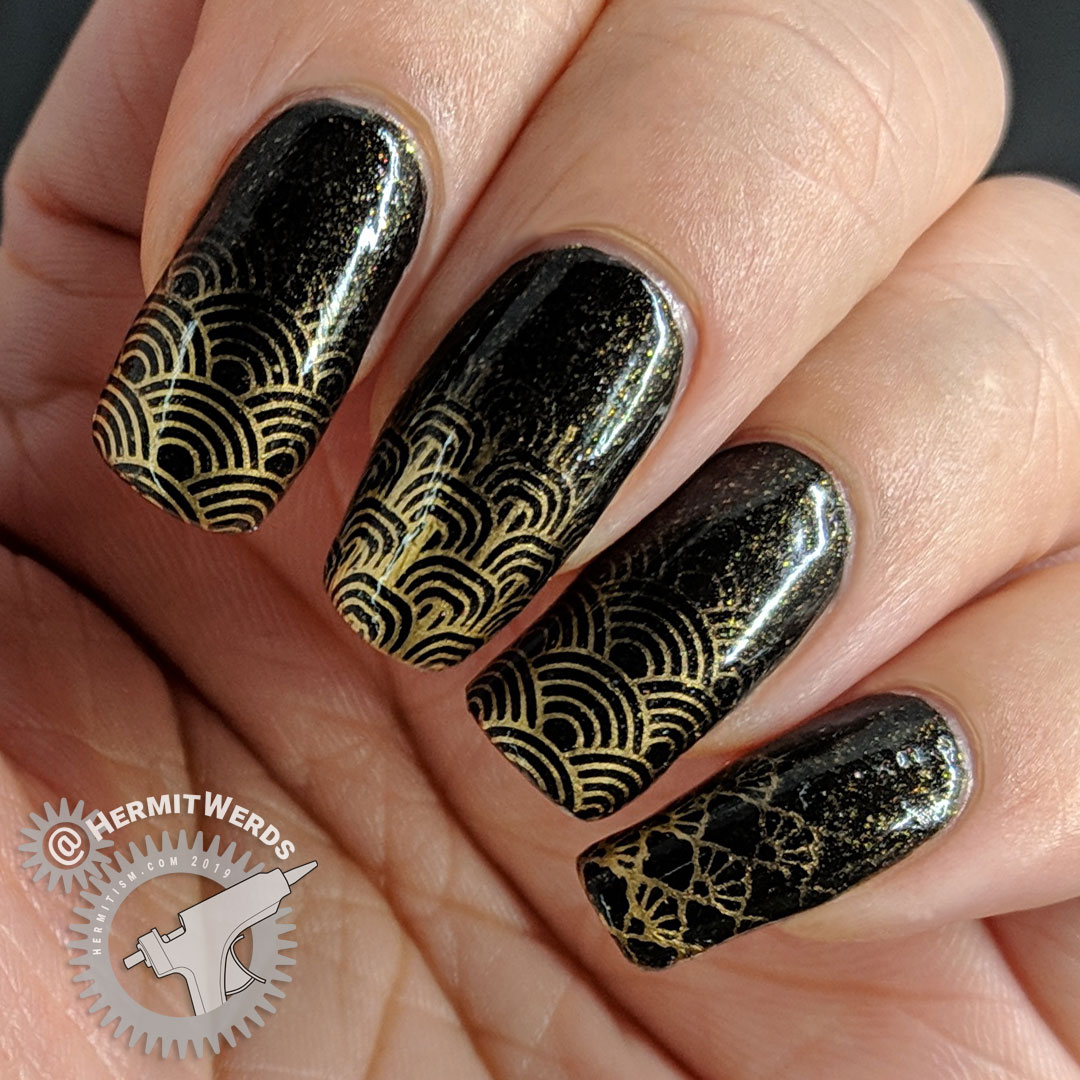 Baby Boomer French Tips - Hermit Werds - black and bronze nail art with stamped baby boomer french tips