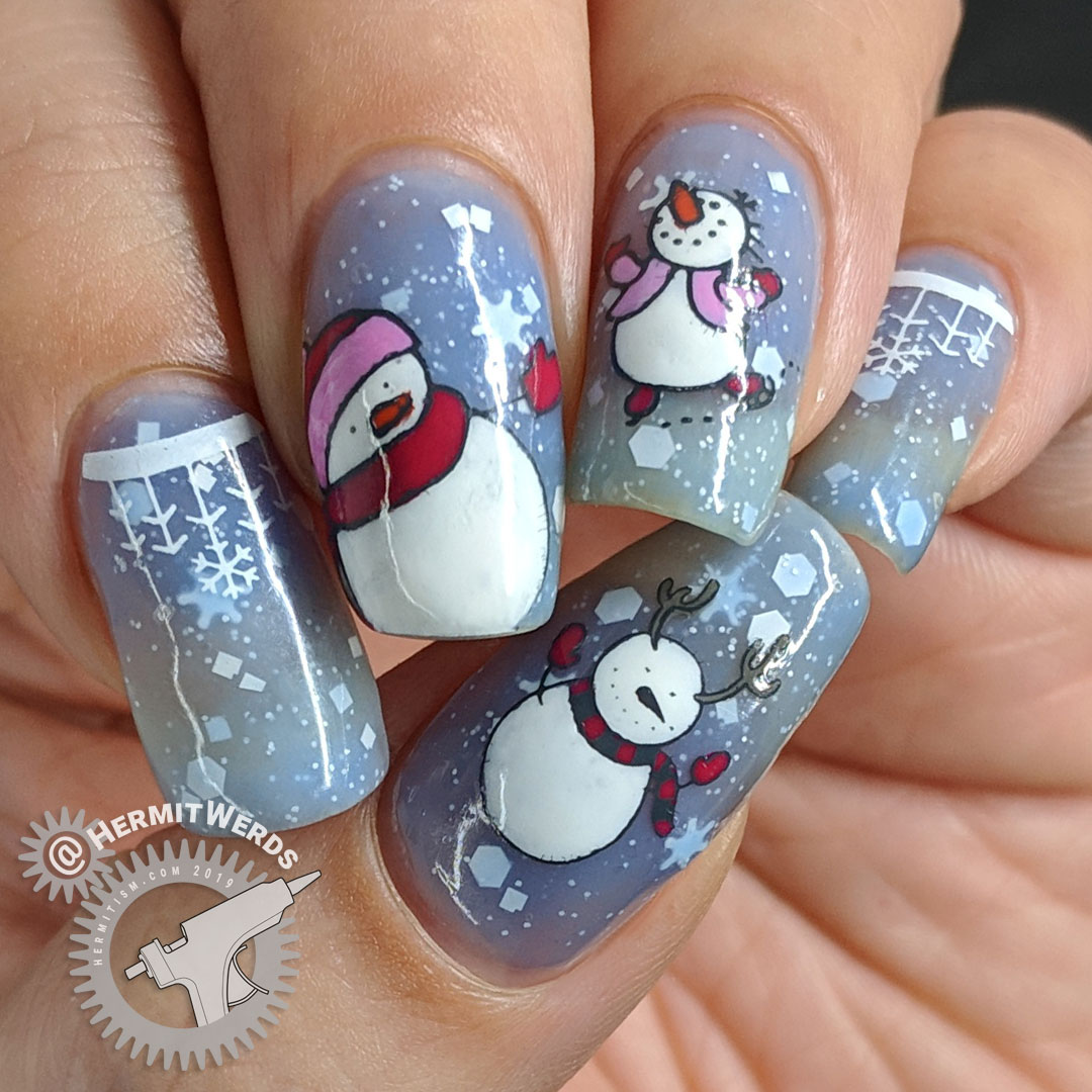 Snowman Wonderland - Hermit Werds - blue thermal snowflake crelly with snowmen stamping decals on top, including a skating snowman