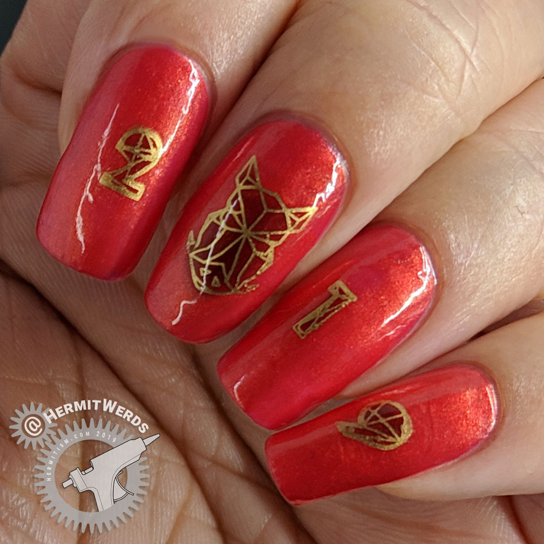 Celestial Year of the Pig - Hermit Werds - red and gold nail art for Chinese New Year's Year of the Pig complete with geometric boar's head