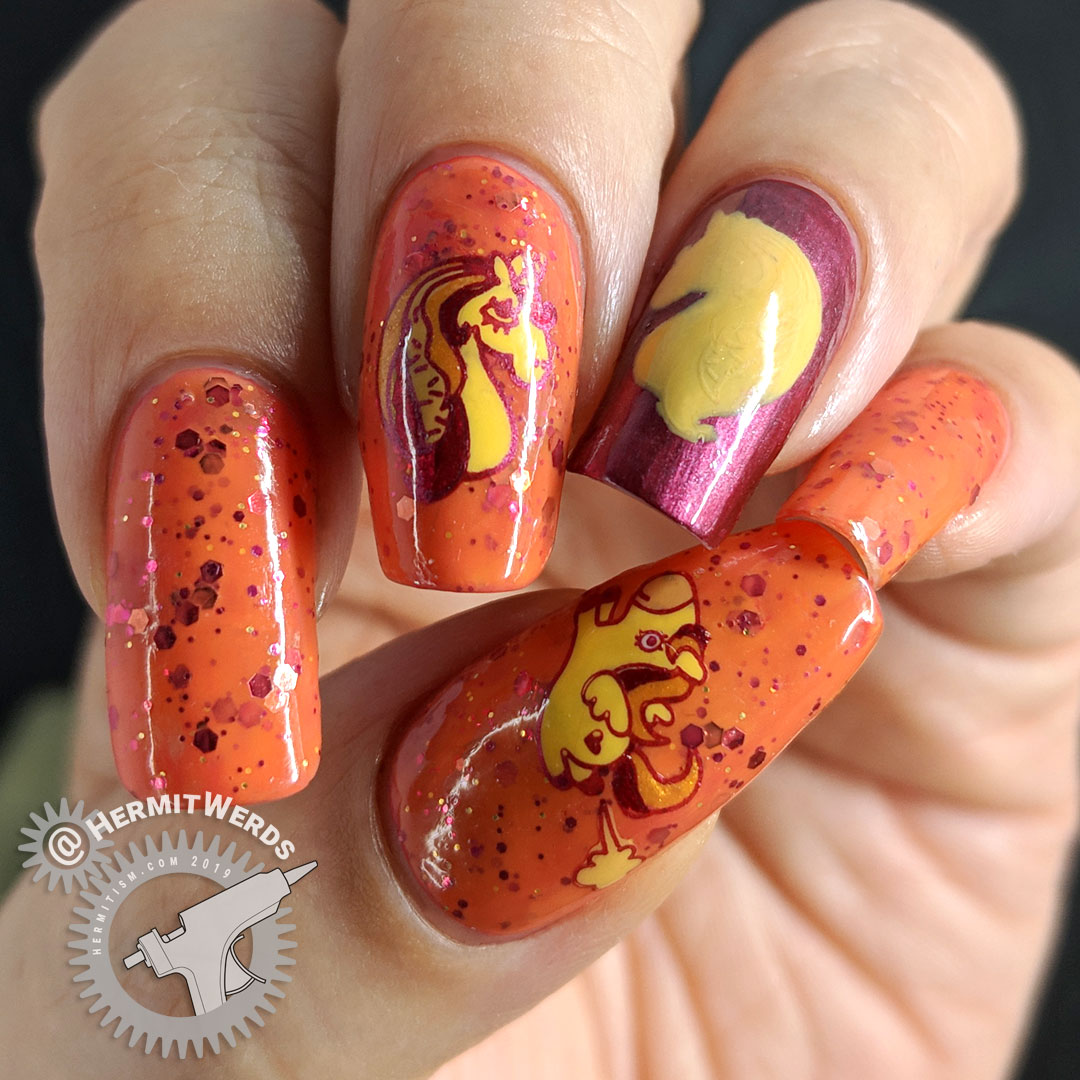 Crelly-corn - Hermit Werds - nail art of a crazy cool unicorn facing a unicorn silhouette against an orange crelly background