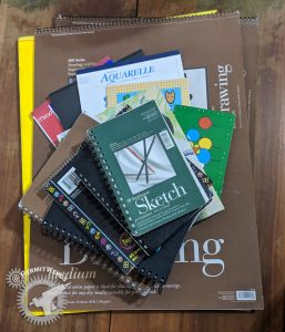 Lisa's Paper Hoard - Hermit Werds - all my sketchbooks and paper pads in one stack