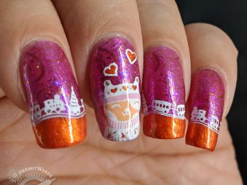 Kitty Clause - Hermit Werds - glittery magenta nails with orange french tips edged with a cute toy train and cute cats