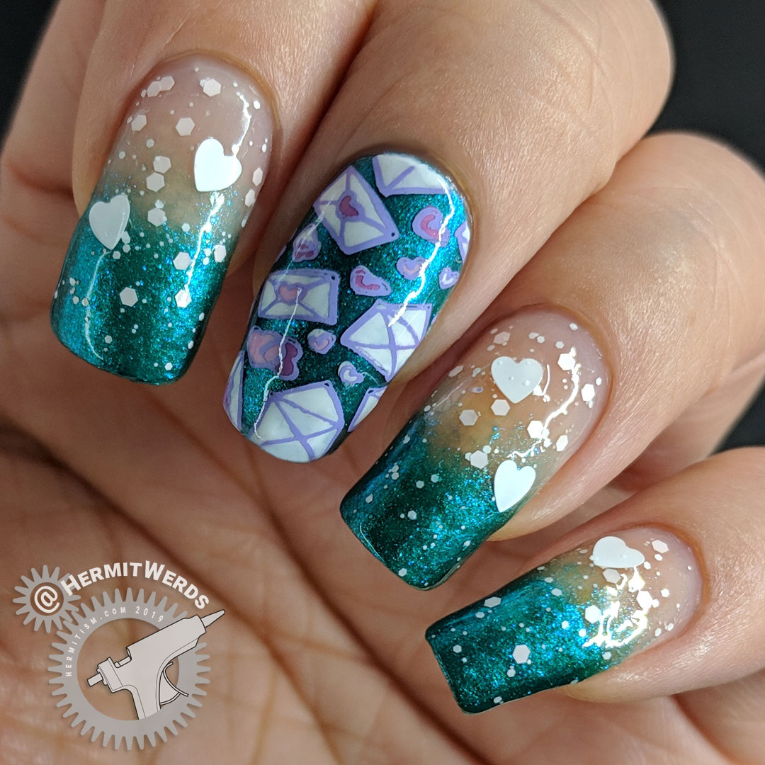Love Letters - Hermit Werds - metallic teal nails with Valentine's Day glitter on top and love letter stamping decals
