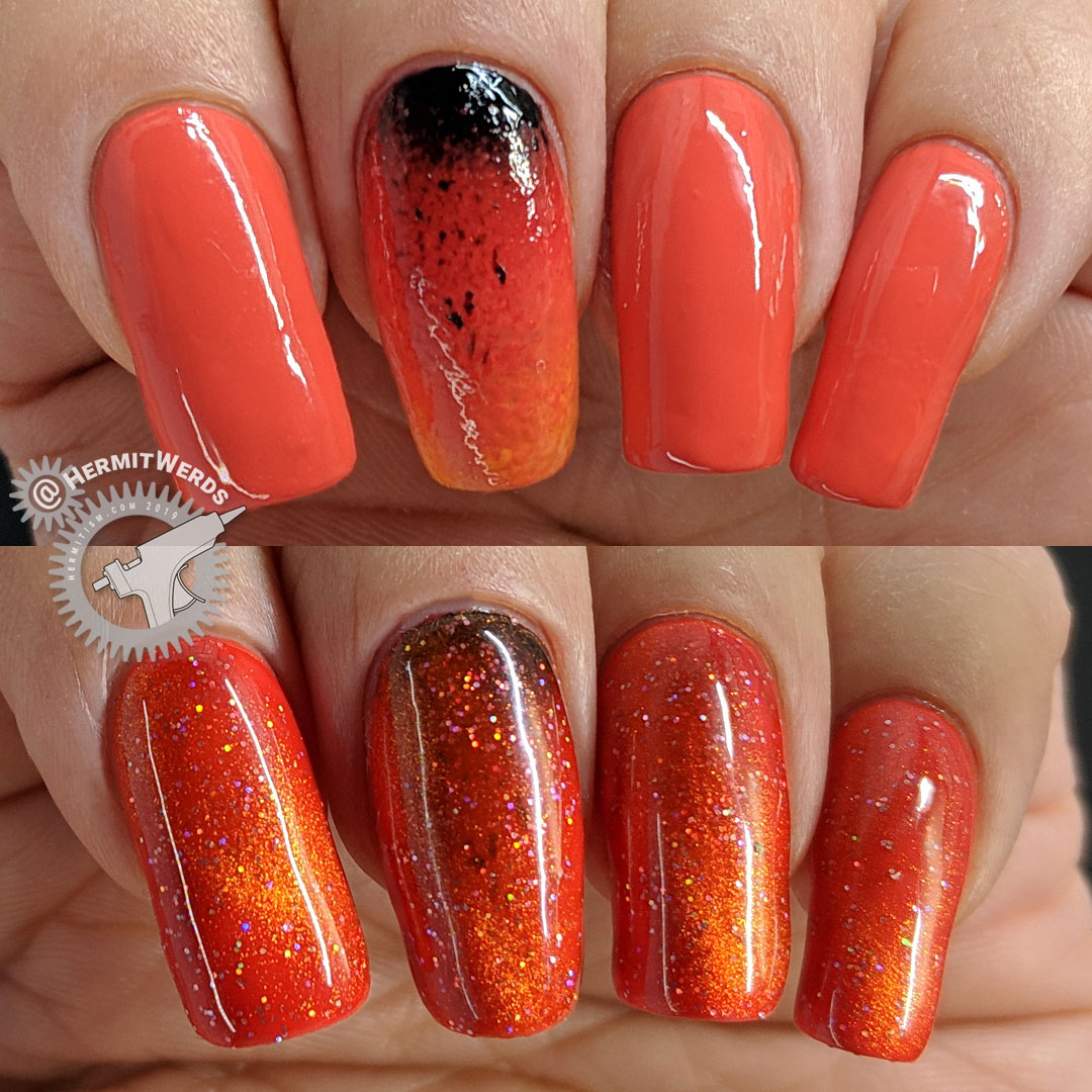 J6490TM-6A - swatch & colorful base - Hermit Werds - orange magnetic polish swatch and colorful orange base