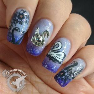 Swan Lake - Hermit Werds - a swan princess and rhinestone nail charm swan on a thermal/solar polish with attendant swans