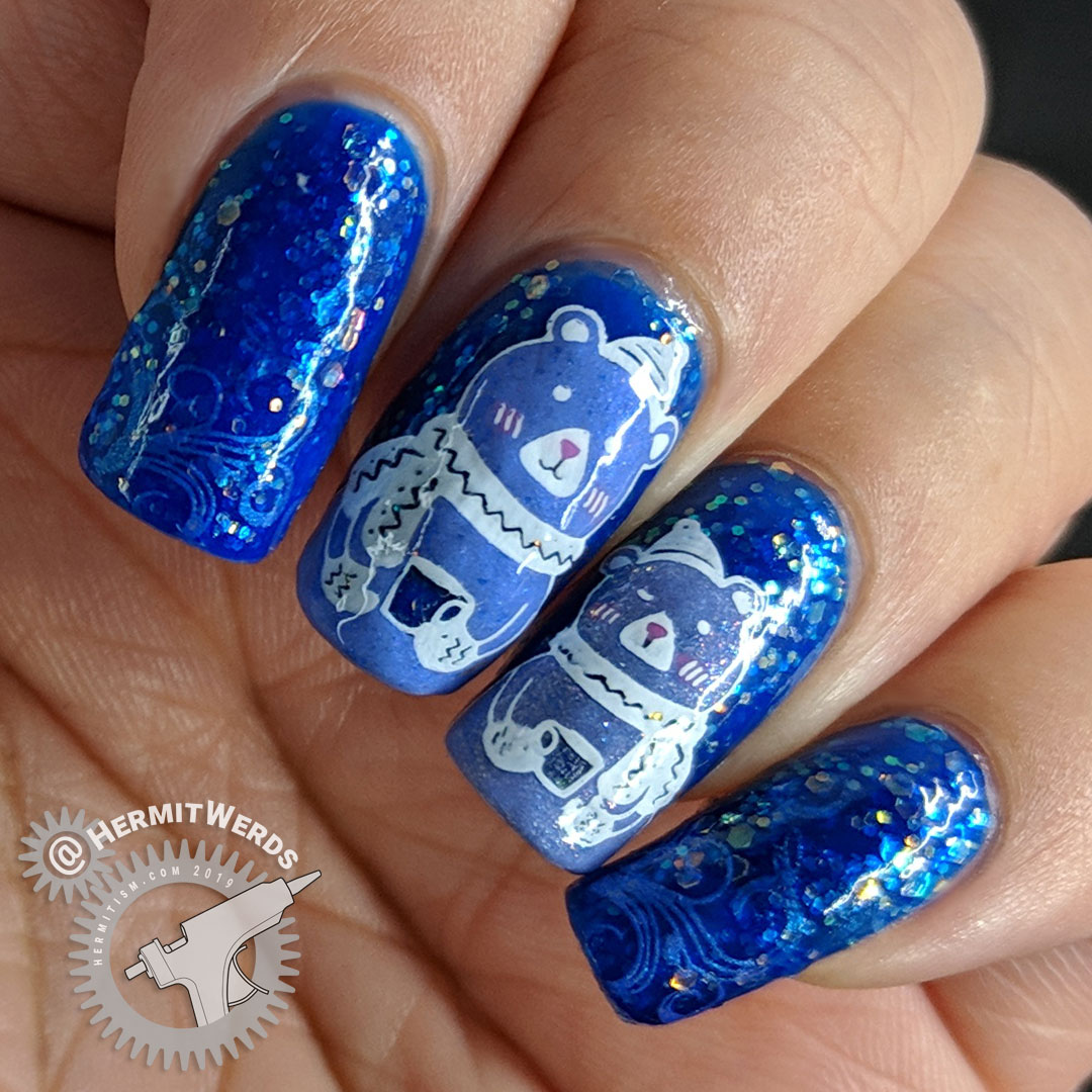 Tea for Two - Hermit Werds - two blurple stamping decal bears drinking tea against a jelly background with opalescent glitters