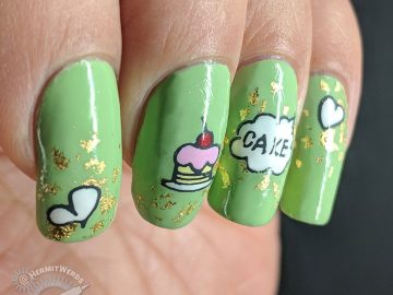 Tea Time = Cake Time - Hermit Werds - pastel green nails with gold gilding foil, cake, tea, and heart stamping images