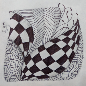 Daily Zentangle - Day 2 - Hermit Werds - Zentangle using Static, Knightsbridge, Nekton, and Fescu