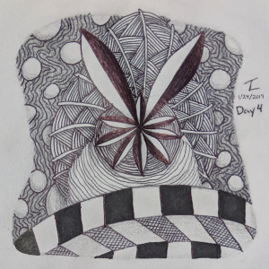 Daily Zentangle - Day 4 - Hermit Werds - Zentangle Inspired Art (ZIA) using Shattuck, Nipa, Jonqal tangleation, and Gneiss tangleation