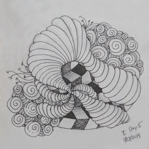 Daily Zentangle - Day 5 - Hermit Werds - Zentangle using Isochor, Printemps, Frescu, and Jonqal tangleation