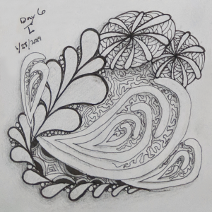 Daily Zentangle - Day 6 - Hermit Werds - Zentangle using Shattuck, Flux, Mooka, Crescent Moon, and Amaze