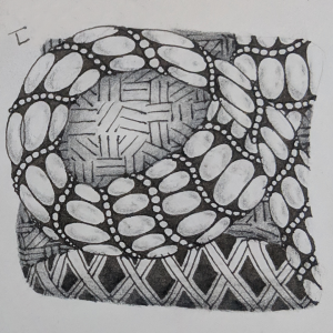 Daily Zentangle - Day 8 - Hermit Werds - Zentangle using Purk, Vega, and Nekton