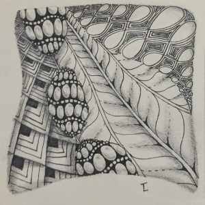 Daily Zentangle - Day 10 - Hermit Werds - Zentangle using Purk, Flukes, Finery, and Echoism