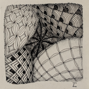 Daily Zentangle - Day 12 - Hermit Werds - Zentangle using Chillon, Bales, Flukes, Beelight, and Shattuck