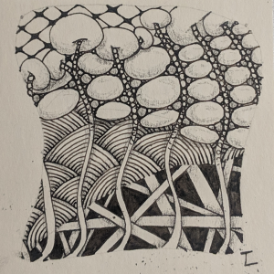 Daily Zentangle - Day 13 - Hermit Werds - Zentangle using Florz, Shattuck, Onamato, Hollibaugh