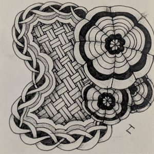 Daily Zentangle - Day 14 - Hermit Werds - Zentangle using Keeko, Chainging with an aura, and a Dyon tangleation