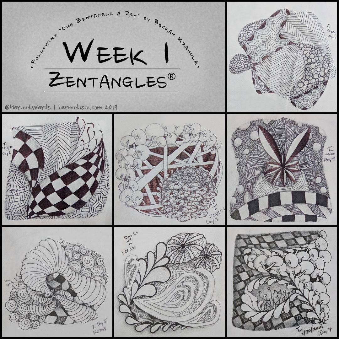 Daily Zentagles - Week 1 - Hermit Werds - zentangles using crescent moon, static, tipple, knightsbridge, fescu, nekton, pokeroot,, festune, hollibaugh, shattuck, nipa, jonqal, isochor, printemps, amaze, mooka, flux, vega, purk and gneiss