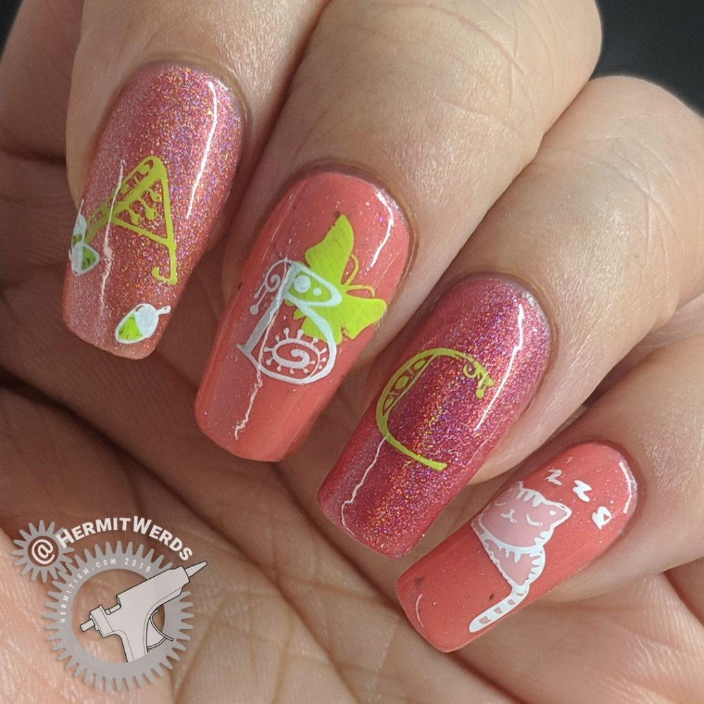 A B C...Zzz - Hermit Werds - nail art with holographic corals, salmon pink, and the start of the alphabet until kitty gets tired. Zzzz...